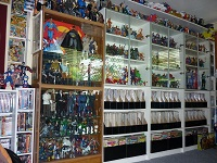 Man Cave Packed with Toys and Comic Books